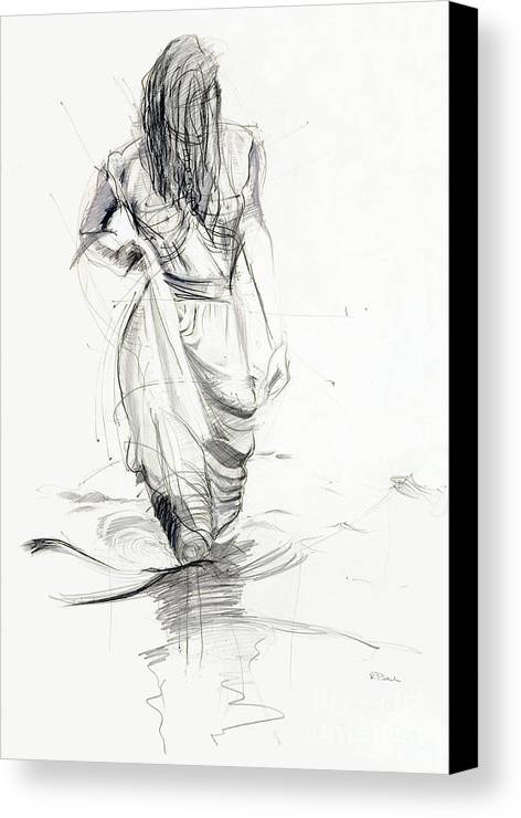 Woman Canvas Print featuring the drawing Lady In The Waters by Kerryn Madsen-Pietsch
