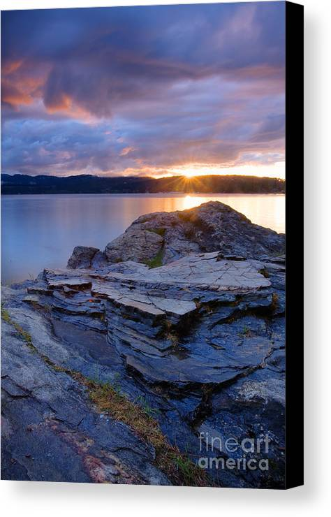 Rock Canvas Print featuring the photograph Lake Coeur D'alene Sunset by Idaho Scenic Images Linda Lantzy