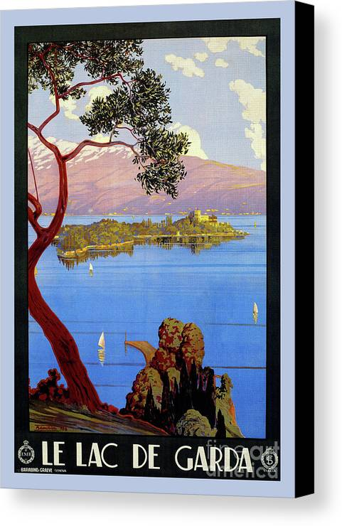 Canvas Print featuring the drawing Lake Garda 1920s French by Aapshop