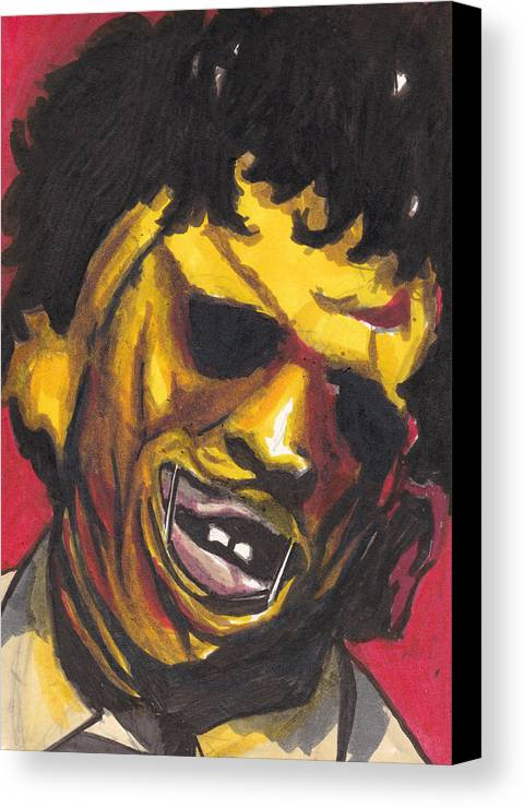 Leatherface Canvas Print featuring the drawing Leatherface by Jim Valentine