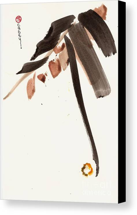 Sumi Canvas Print featuring the painting Leaves Of Life by Casey Shannon