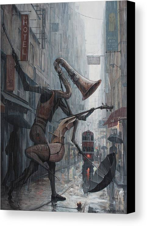 Life Canvas Print featuring the painting Life Is Dance In The Rain by Adrian Borda