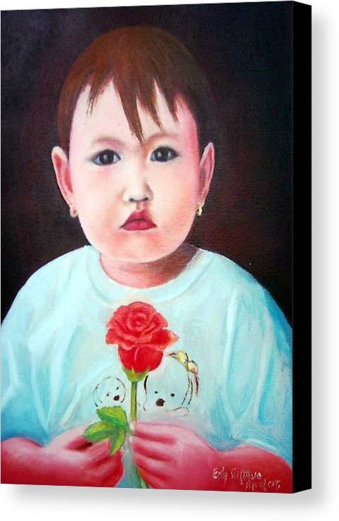 Rose Canvas Print featuring the painting Little Girl With Rose by Edy Sutowo