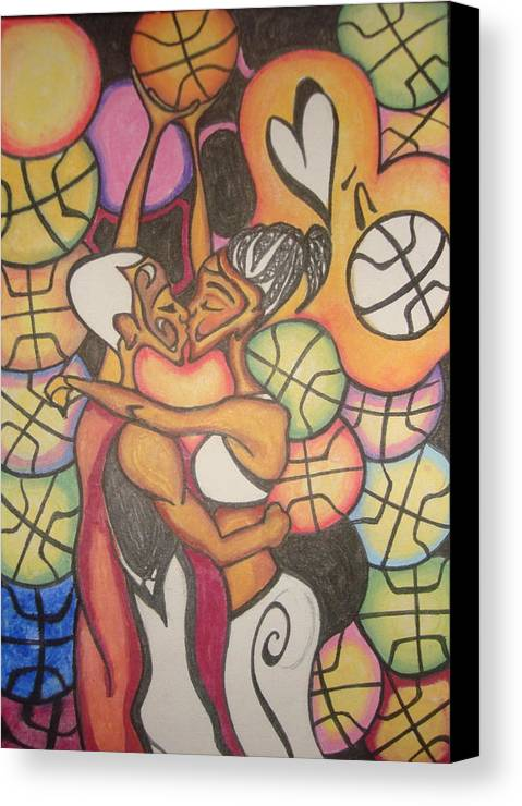 Pencil Canvas Print featuring the drawing Luv N B'ball by Chibuzor Ejims
