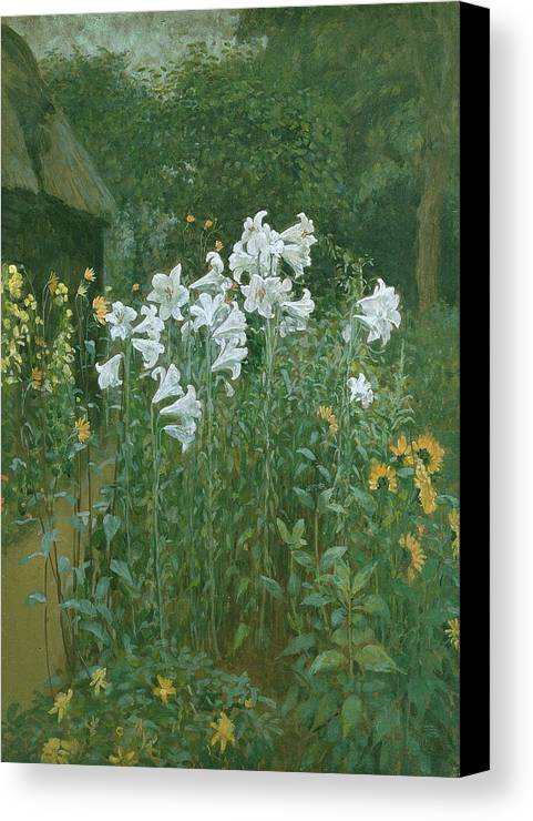 Madonna Canvas Print featuring the painting Madonna Lilies In A Garden by Walter Crane