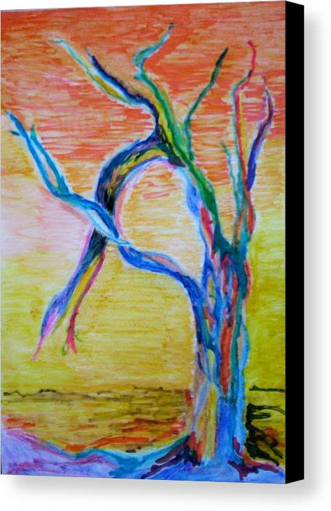 Abstract Painting Canvas Print featuring the painting Magical Tree by Suzanne Udell Levinger