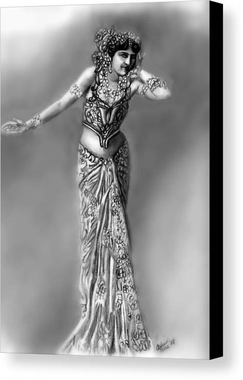 Spy Canvas Print featuring the drawing Mata Hari by Carliss Mora