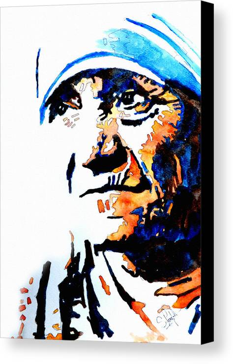 Mother Canvas Print featuring the painting Mother Teresa by Steven Ponsford