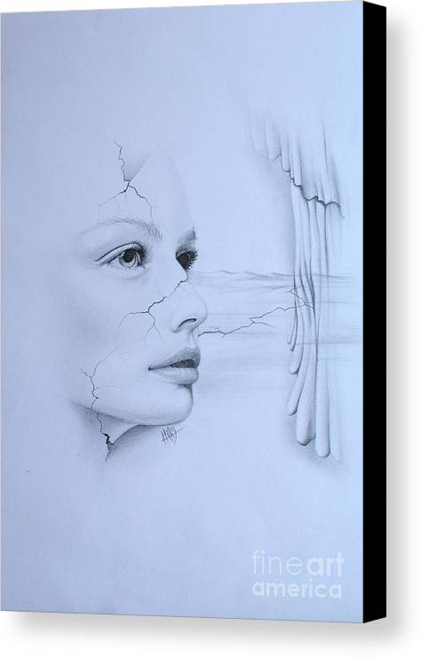 Surrealism Canvas Print featuring the drawing No Title by Marek Halko