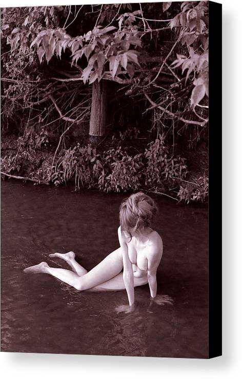 Fine Art Female Nude Figure Creek Study Naked Women Canvas Print featuring the photograph Nude In Jack Creek by Randy Sprout