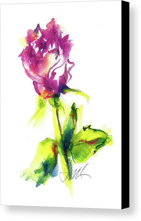 Painting Of Pink Rose Canvas Print featuring the painting Old Blush - Rose by Jacki Kellum