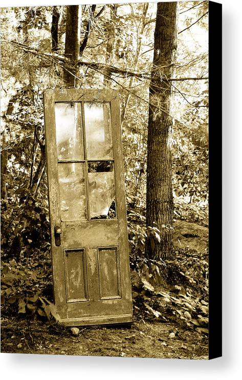 Broken Glass Canvas Print featuring the photograph Old Door by Linda McRae