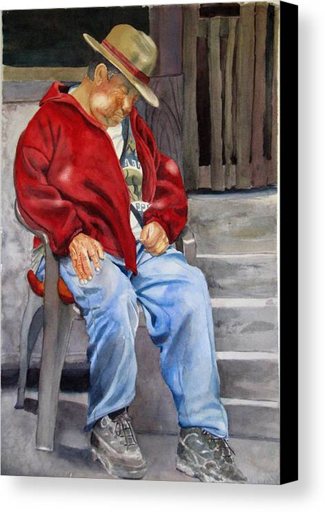 Man Canvas Print featuring the painting Old Man Resting by Libby Cagle
