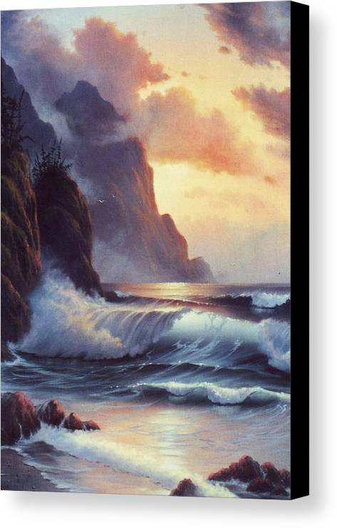 Sunset Of Oregon Coast  Seascape Canvas Print featuring the painting Oregon Sunset by Lynne Parker
