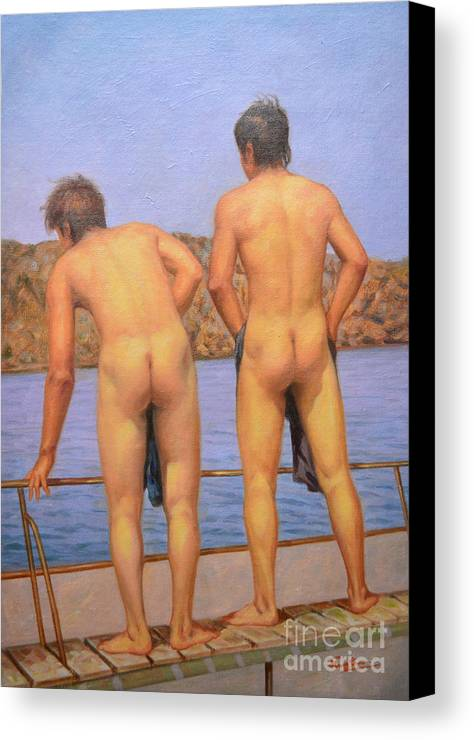Original Art Canvas Print featuring the painting Original Oil Painting Art Male Nude Gay Interest Boy Man On Linen#16-2-5-12 by Hongtao   Huang