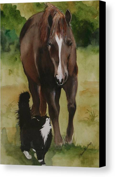 Horse Canvas Print featuring the painting Oscar And Friend by Jean Blackmer