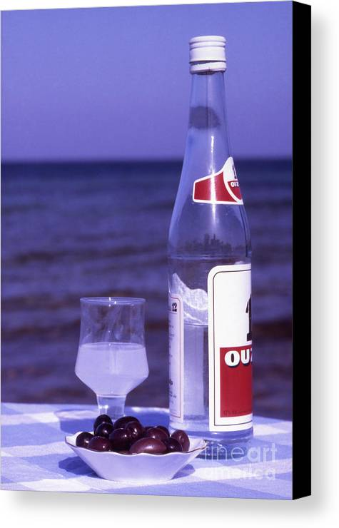 Drink Canvas Print featuring the photograph Ouzo And Olives By The Sea by Steve Outram