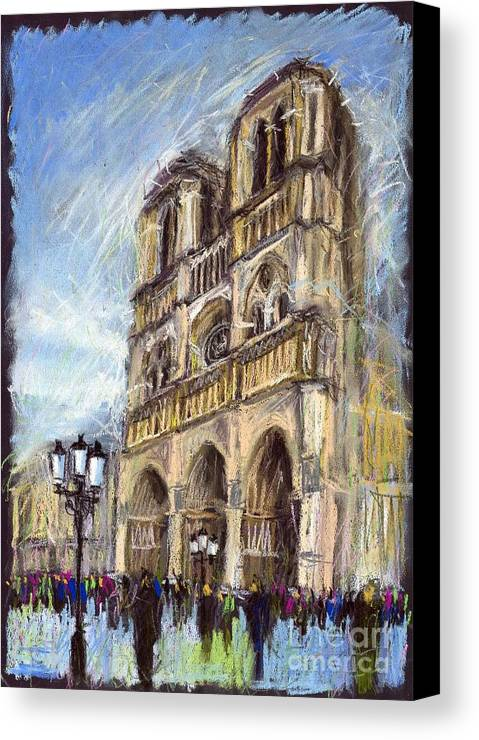 Cityscape Canvas Print featuring the pastel Paris Notre-dame De Paris by Yuriy Shevchuk