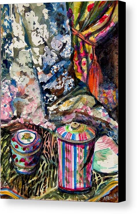 Paris Canvas Print featuring the painting Paris Window by Mindy Newman