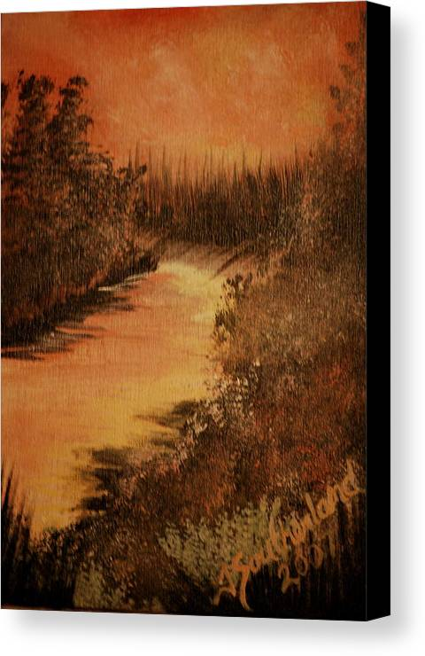 Landscape Canvas Print featuring the painting Peach River by Trudi Southerland