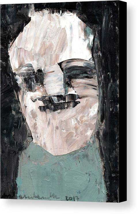 Portrait Canvas Print featuring the painting Portrait In Bleu by Paulina Archambault