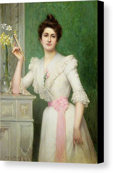 Gg80894 Canvas Print featuring the photograph Portrait Of A Lady Holding A Fan by Jules-Charles Aviat