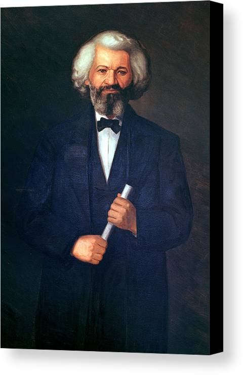 Portrait Of Frederick Douglass (1817-95) (oil On Canvas) By American School (19th Century) Canvas Print featuring the painting Portrait Of Frederick Douglass by American School