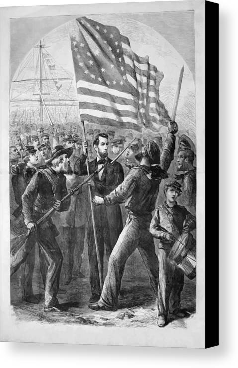 Abraham Lincoln Canvas Print featuring the painting President Lincoln Holding The American Flag by War Is Hell Store