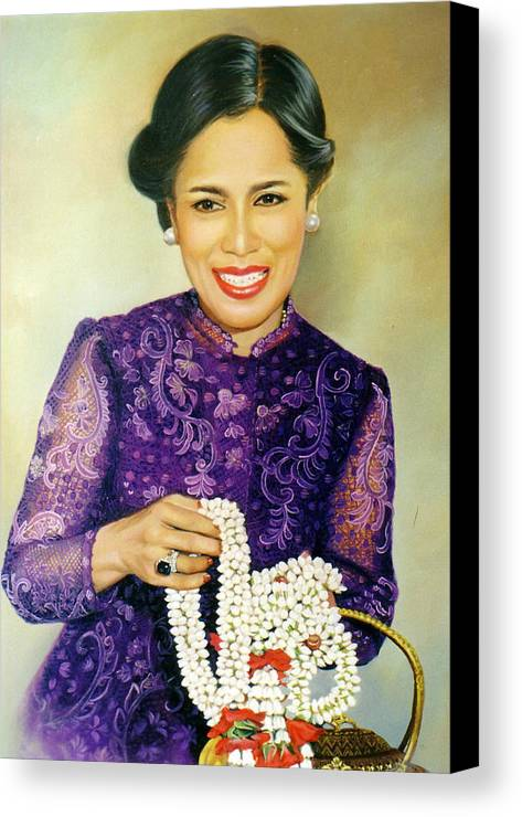 Oil Canvas Print featuring the painting Queen Sirikit2 by Chonkhet Phanwichien