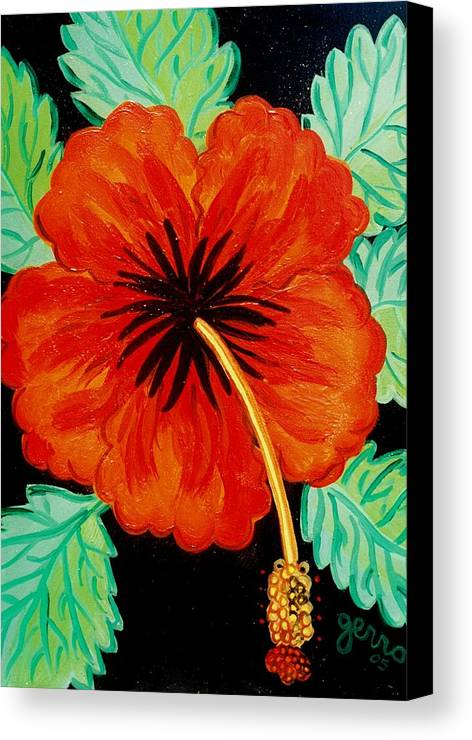 Hibiscus Artwork Canvas Print featuring the painting Red Hibiscus by Helen Gerro