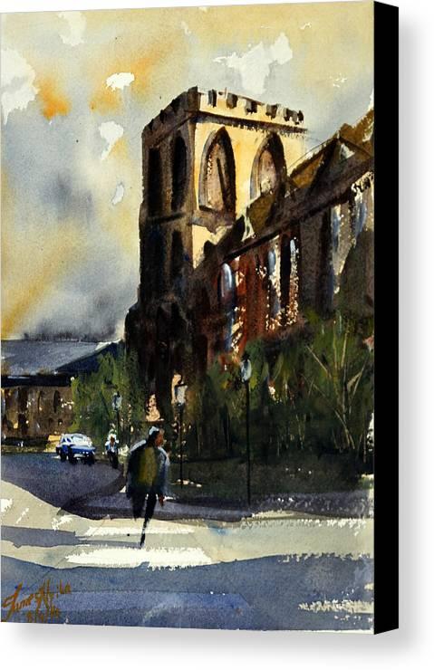 Catholic Canvas Print featuring the painting Residences, Catholic University by James Nyika