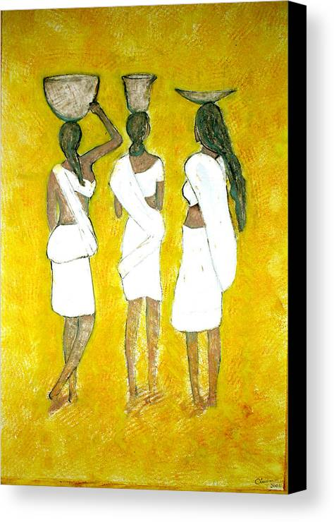 Women Canvas Print featuring the painting Return From Market by Narayanan Ramachandran
