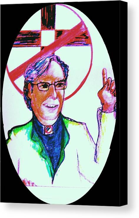 Atheist Canvas Print featuring the drawing Richard Dawkins Loves To Preach by Richard Hubal