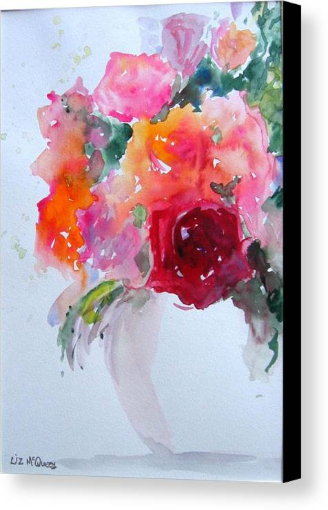 Flower Canvas Print featuring the painting Rose Bowl II by Liz McQueen