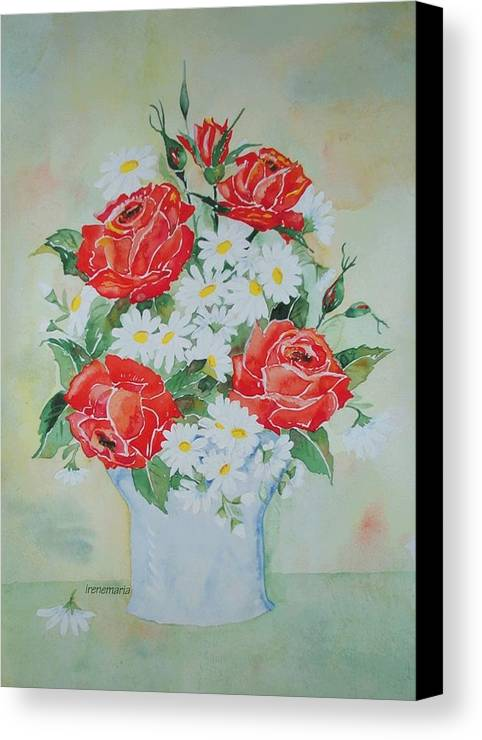 Roses Flowers Canvas Print featuring the painting Roses And Daises by Irenemaria