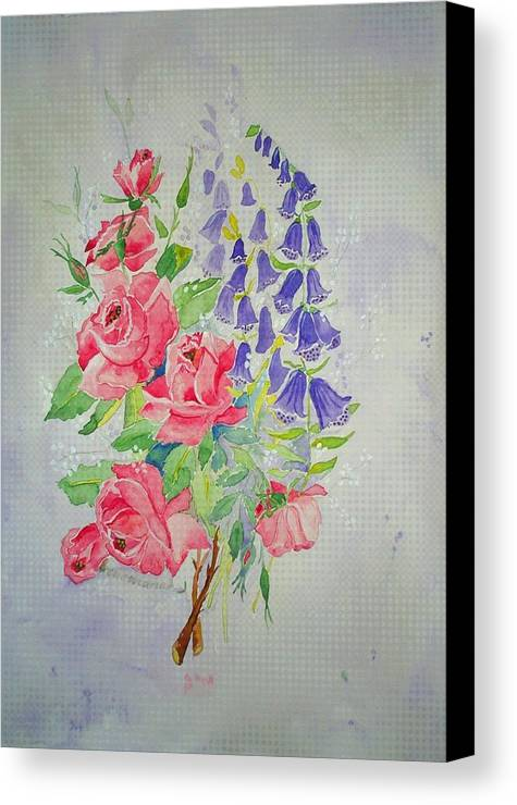 Roses Flowers Canvas Print featuring the painting Roses And Digitalis by Irenemaria