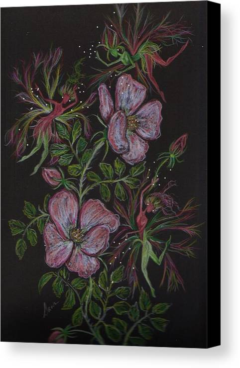 Wild Flowers Canvas Print featuring the drawing Roses Run Amok by Dawn Fairies