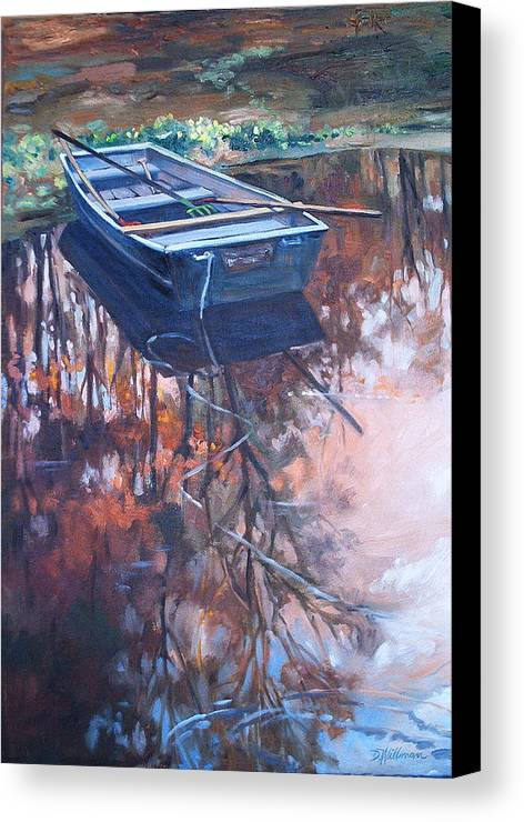 Water Canvas Print featuring the painting Rowboat Ashore by Dianna Willman