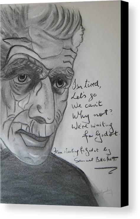 Irish Inretnational Playwrite Canvas Print featuring the painting Samuel Beckett by Roger Cummiskey