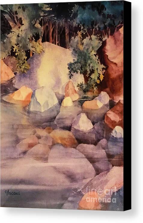 Shoreline Rocks Canvas Print featuring the painting Shoreline Rocks by Teresa Ascone