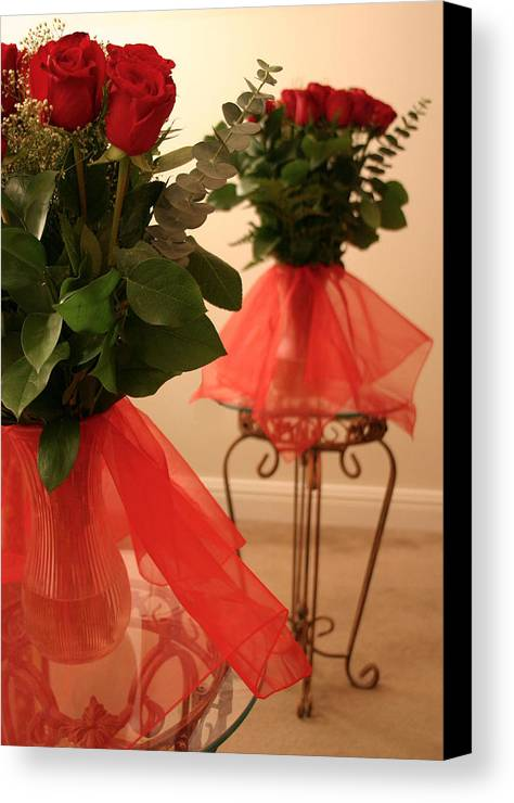 Roses Canvas Print featuring the photograph Skirted Roses In Mirror by Kristin Elmquist