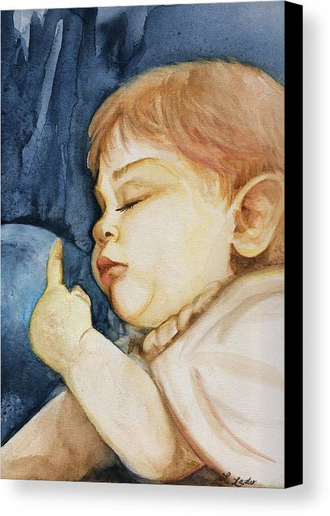 Portrait Commission Canvas Print featuring the painting Sleep by L Lauter
