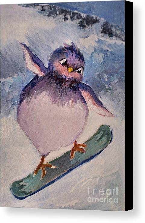 Bird Canvas Print featuring the painting Snowboard Bird by Diane Ursin