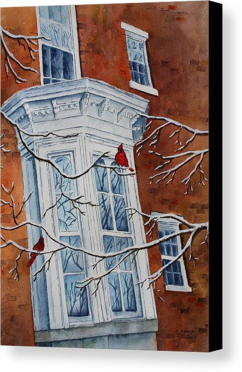 Architectural Landscape Canvas Print featuring the painting Snowy Bay by Patsy Sharpe
