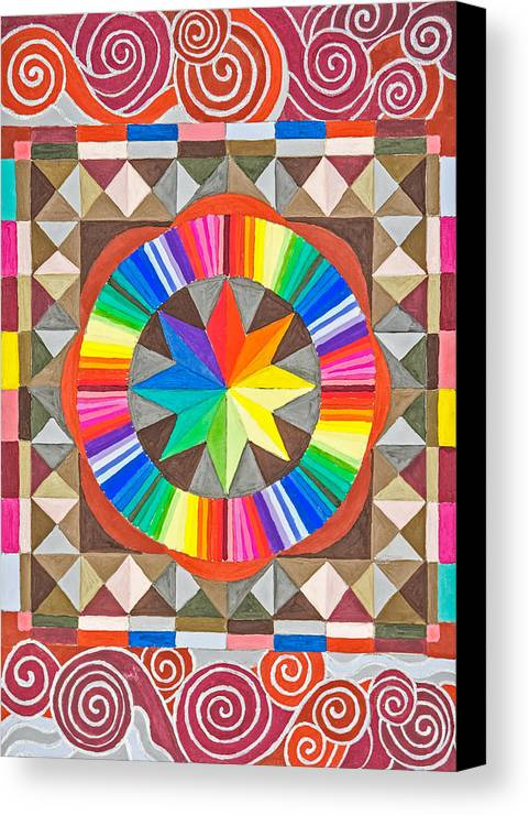 Rainbow Star Mandala In Moroccan Tile Setting. Canvas Print featuring the painting Star Series One by Sandy Thurlow