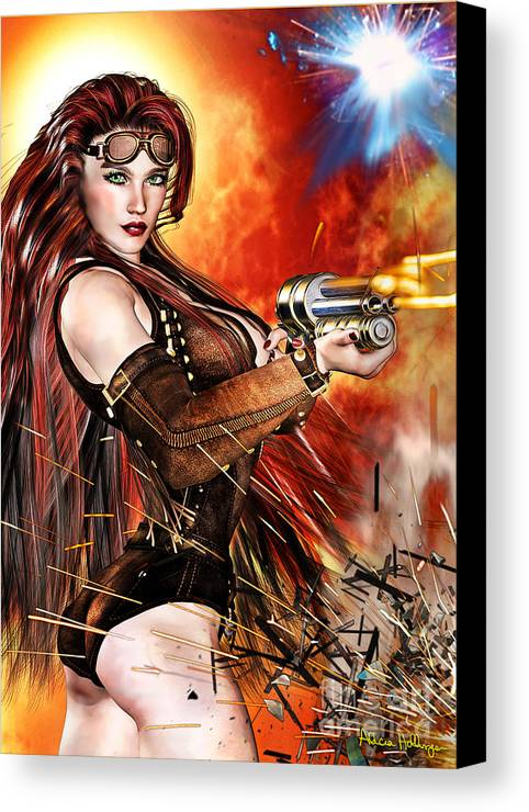 Steampunk Canvas Print featuring the mixed media Steampunk Apocalypse by Alicia Hollinger