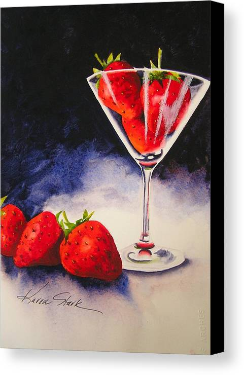 Strawberry Canvas Print featuring the painting Strawberrytini by Karen Stark