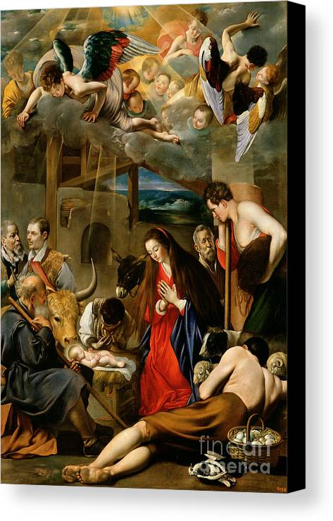 Donkey; Ox; Stable; Manger; Shepherd; Jesus; Christ; Mary; Virgin; Madonna;nativity; Jesus Christ; Infant Christ; Virgin Mary; Madonna; Joseph; Cow; Sheep; Eggs; Basket; Donkey; Stable; Cherubs; Angels; Shepherd; Adoration Canvas Print featuring the painting The Adoration Of The Shepherds by Fray Juan Batista Maino or Mayno