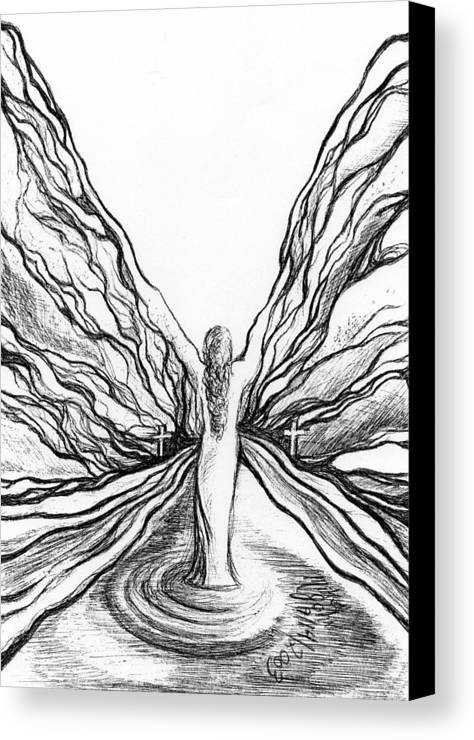 Doodle Canvas Print featuring the drawing The Angel Within by Mikel Zuiderveen