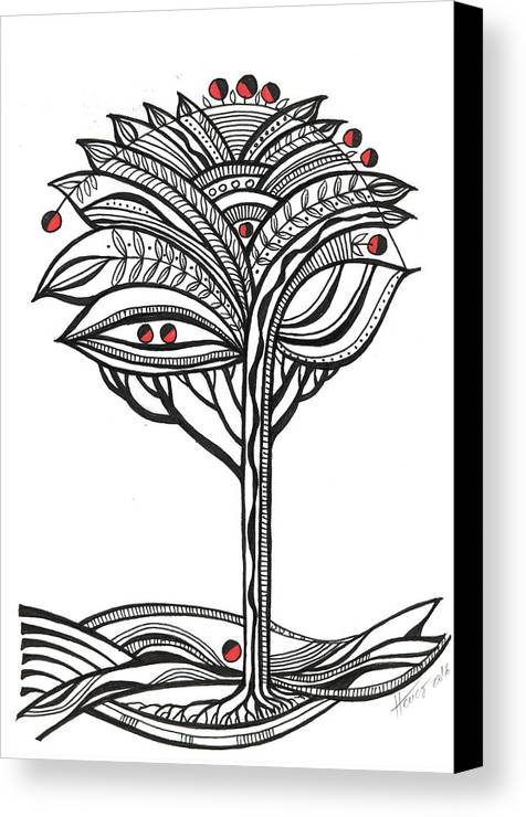 Abstract Canvas Print featuring the drawing The Apple Tree by Aniko Hencz